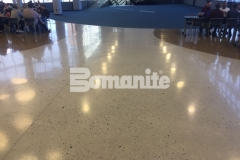 Bomanite Modena Monolithic was poured in place with a free-flowing design to create these stunning decorative concrete floors that feature a natural look and lustrous finish that is durable and easy to maintain.
