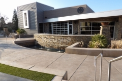 Bomanite Sandscape Refined Antico decorative concrete in Bomanite Light Brown was expertly installed by Heritage Bomanite in a pattern that radiates outward from the baptismal pool to form a courtyard with seating areas, viewing sections, and various gathering spaces at Northside Christian Church.
