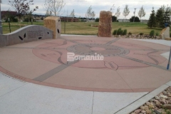 Bomanite Sandscape Texture offers creative design and coloration options, while producing a surface with consistent texture and durability and was chosen to create the stunning hardscape surfaces throughout Centennial Center Park.
