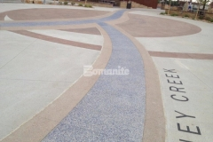 The decorative concrete craftsmanship of our associate Premier Concrete Services is featured throughout the hardscape surfaces at Centennial Center Park and includes Bomanite Imprint Systems, Bomanite Sandscape Texture, and Bomanite Revealed, a combination of Bomanite Systems that will provide durability and add intricate detail and distinct design features.