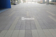 This stunning custom color pattern was created using gradients of gray Bomanite Con-Color with Bomanite Sandscape Texture decorative concrete and adds beautiful visual appeal to the hardscape with color, pattern, and texture.