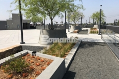 Bomel Construction Company expertly installed Bomanite Exposed Aggregate Sandscape Texture in a gray finish and this application adds beautiful textural detail to these lineal planters and circular tree planters.