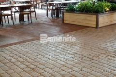 This hardscape surface was created using the Bomanite Belgium Block imprint pattern and to achieve an intentionally consistent look, Colorado Hardscapes was meticulous with their placement and the finished result integrates perfectly into the rustic design aesthetic throughout the Gaylord Rockies Resort & Convention Center.