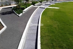 Our colleague Bomanite of Tulsa utilized Bomanite Imprint Systems at Owasso's Redbud Festival Park to create a water feature and splash pad, both of which feature the Bomacron Chipped Shale pattern in Cobblestone Gray and resemble a riverbed of rock.