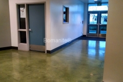 Bomanite Custom Polishing Patene Teres at Clovis East High School Cafeteria hall by Heritage Bomanite.