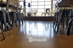 The flooring inside the Northside Christian School and Frappe House at CrossCity Christian Church features Bomanite Patene Teres that was installed to provide a custom colored, high polished decorative concrete that perfectly portrays the contemporary design aesthetic that was desired.