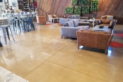 Heritage Bomanite installed these stunning Bomanite Patene Teres custom polished concrete floors to complement the contemporary aesthetic inside the Northside Christian Church Frappe House.