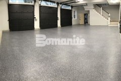 This Bomanite Broadcast Flake flooring was installed by our colleague, Premier Concrete Construction, using a salt and pepper finish to enhance the architectural design while providing a protective flooring surface that will stand up to long term wear and tear.