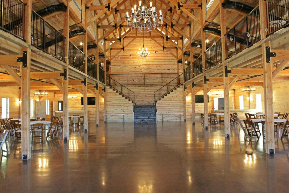 The Chapel Creek Ranch event center floor is dazzling and inviting installed with Bomanite VitraFlor Poliahsed Concrete.