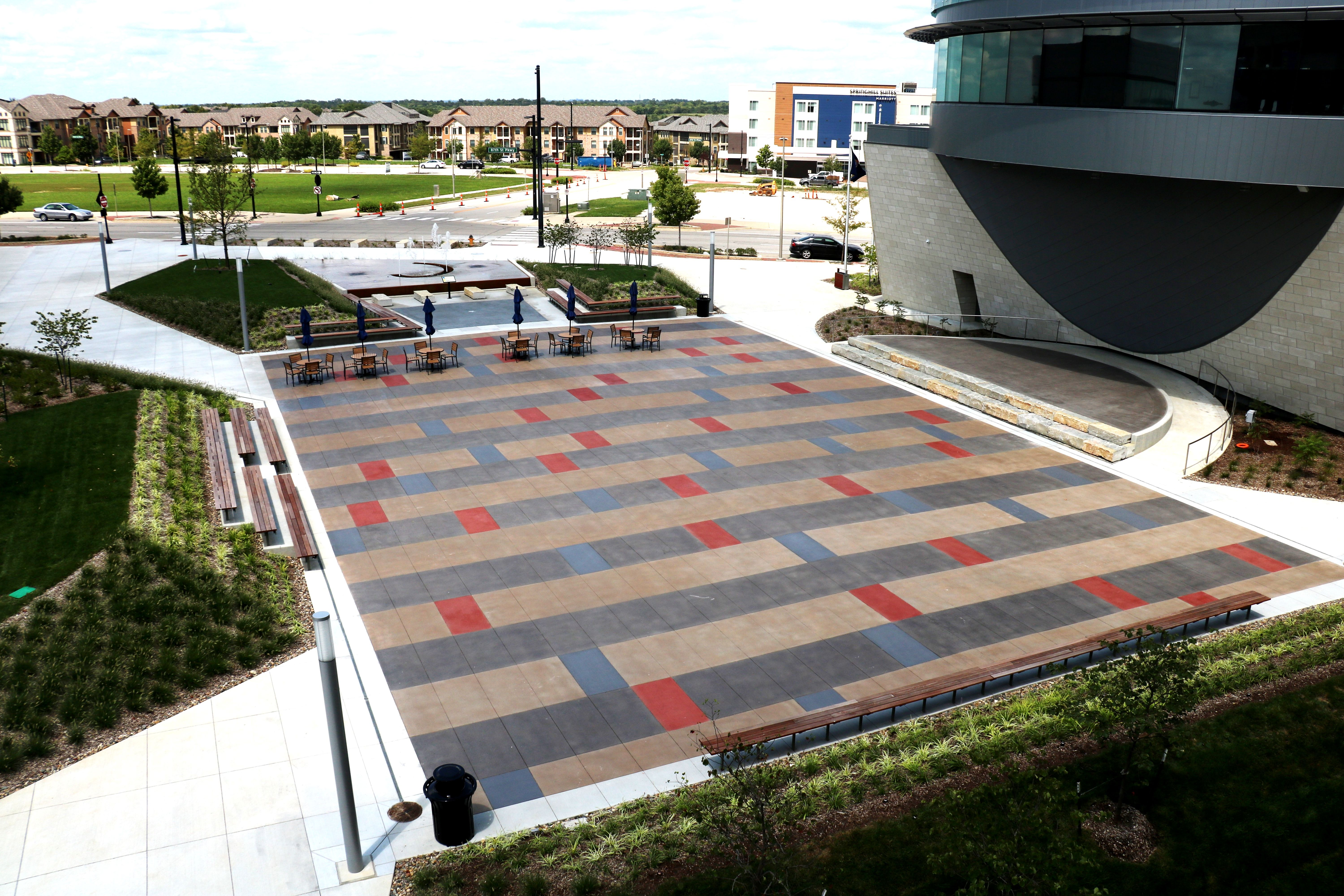 Bomanite Sandscape Texture with Bomanite Con-Color is featured at the Lenexa Civic Center Festival Plaza and Bomanite Alloy at the History Node.