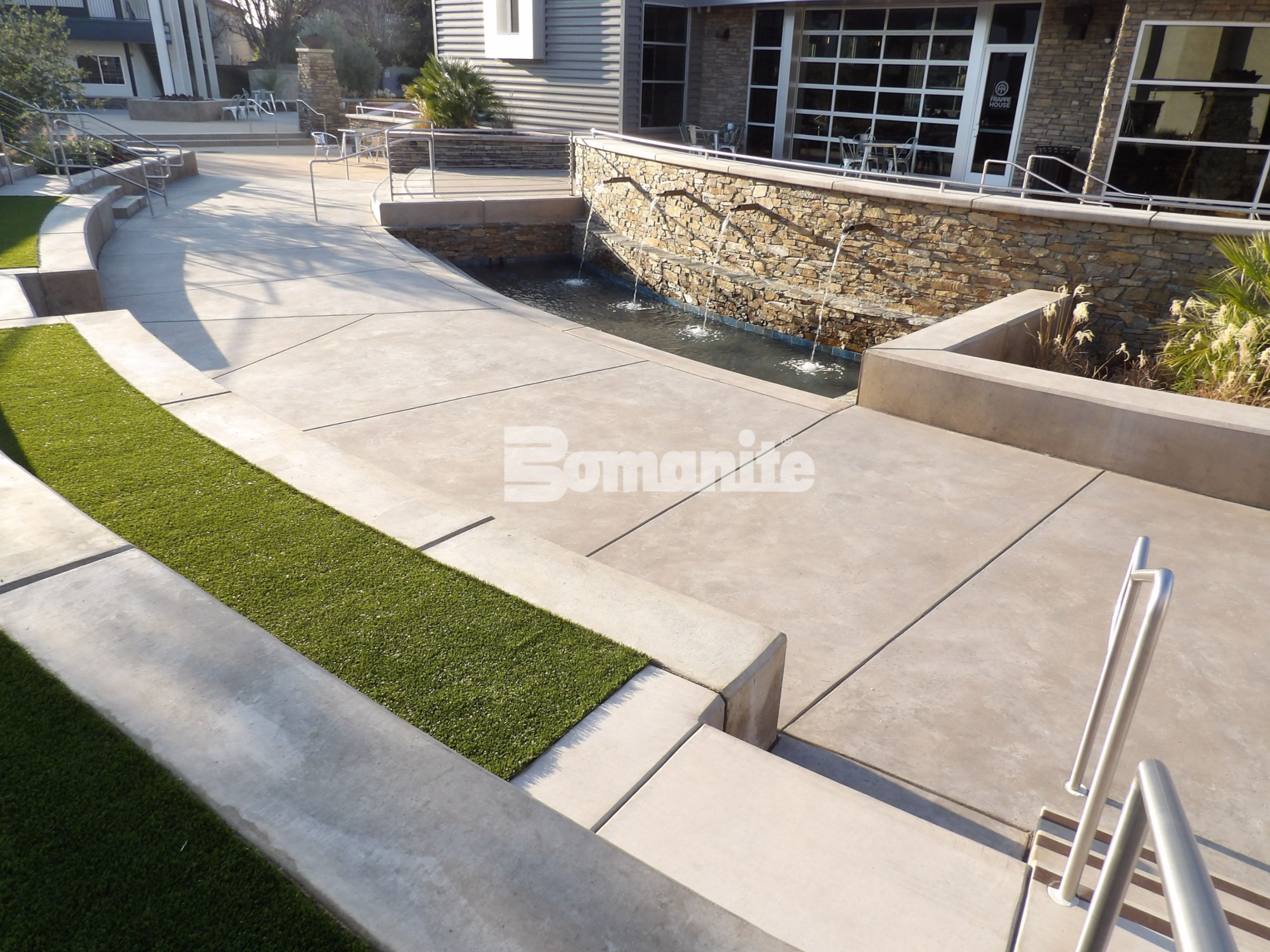 A multi-purpose decorative concrete plaza using Bomanite Exposed Aggregate Systems with Bomanite Sandscape Refined Antico at CrossCity Church, formerly known as Northside Church, in Fresno, CA.