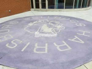 Exterior Walkway of decorative concrete High School Mascot Logo using Bomanite Exposed Aggregate Systems with Bomanite Alloy.