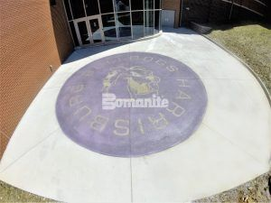 Harrisburg High School Mascot Logo using Bomanite Exposed Aggregate Systems with Bomanite Alloy exterior walkway.