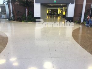 Cafeteria and Common areas have beautiful decorative concrete flooring in Bomanite Custom Polishing Systems using Bomanite Modena Monolithic and Bomanite Renaissance.