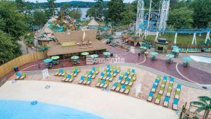 Canobie Lake Park, Castaway Island Expansion, plazas, decking, beach entries, waterways, stamped with multiple Bomacron Patterns in the Bomanite Imprint Systems to give that real tiki inspired resort feel.