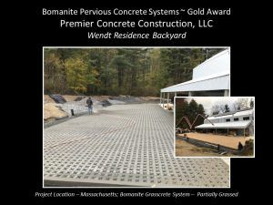 Premier Concrete Construction, Bomanite Licensee located in New Hampshire grabbed a 2018 Gold Award for the Best Grasscrete Project with a Pervious Concrete private residential installation.