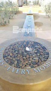 Long view of the fountain created with Bomanite decorative concrete in the healing garden at the Clovis Medical Center housing the Clovis Cancer Institute.