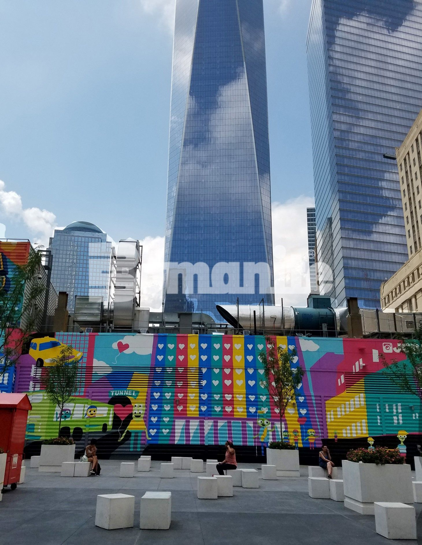 World Trade Center with award winning Bomanite Exposed Aggregate Systems using Bomanite Alloy decorative concrete street design connecting Tower One to the soon to be built Tower Two.
