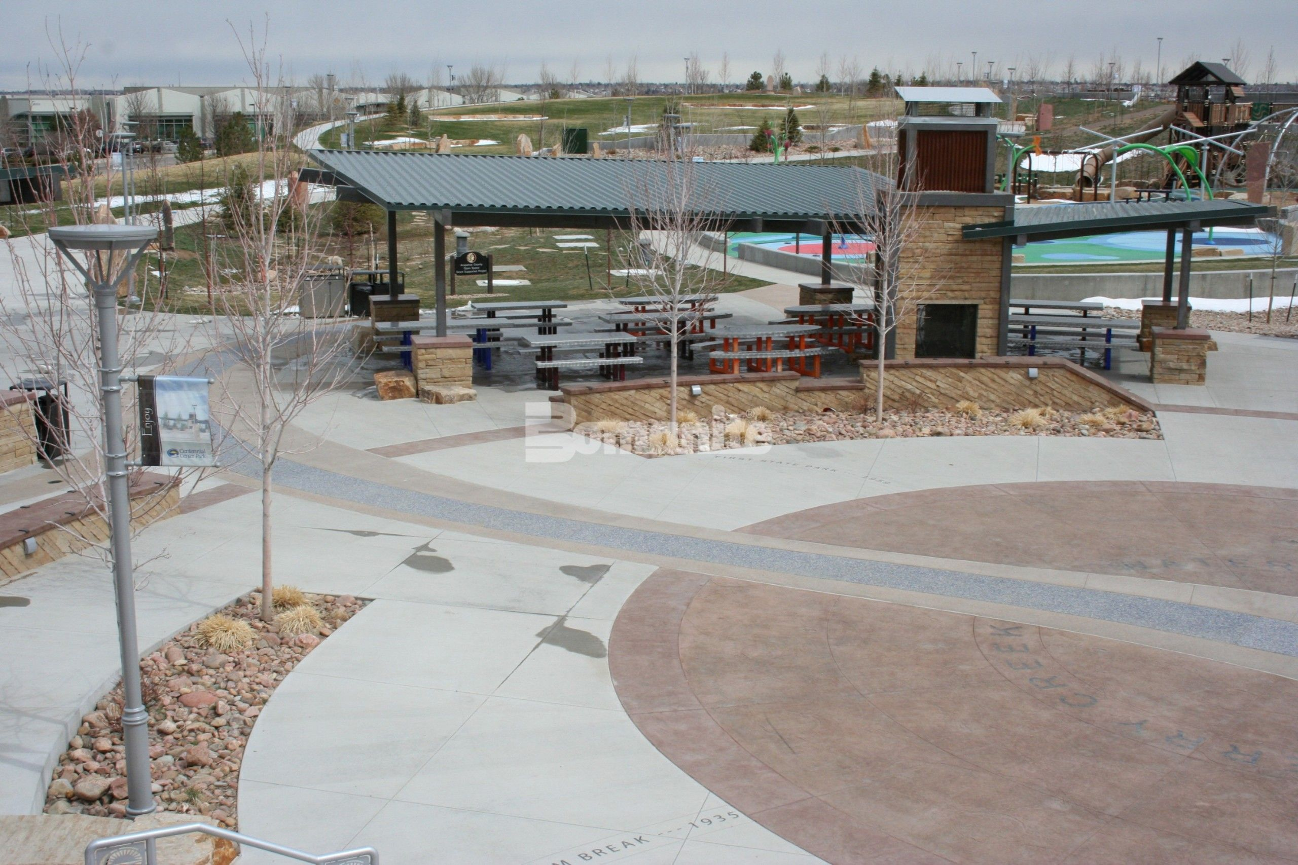 Centennial Center Park located in Colorado is an educational source with a play park that incorporates several Bomanite Decorative Concrete Systems used to inform visitors about the history of Cherry Creek Basin and was installed by Bomanite Licensee Premier Concrete Services.